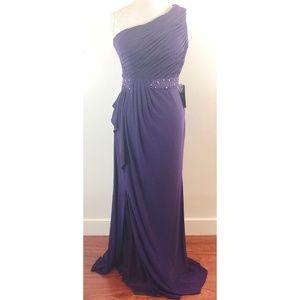 JS Boutique Women's One Shoulder Jersey Gown 10